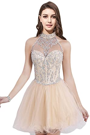 Vanial Short Beading Halter A-line Homecoming Prom Dresses Champagne Size 2