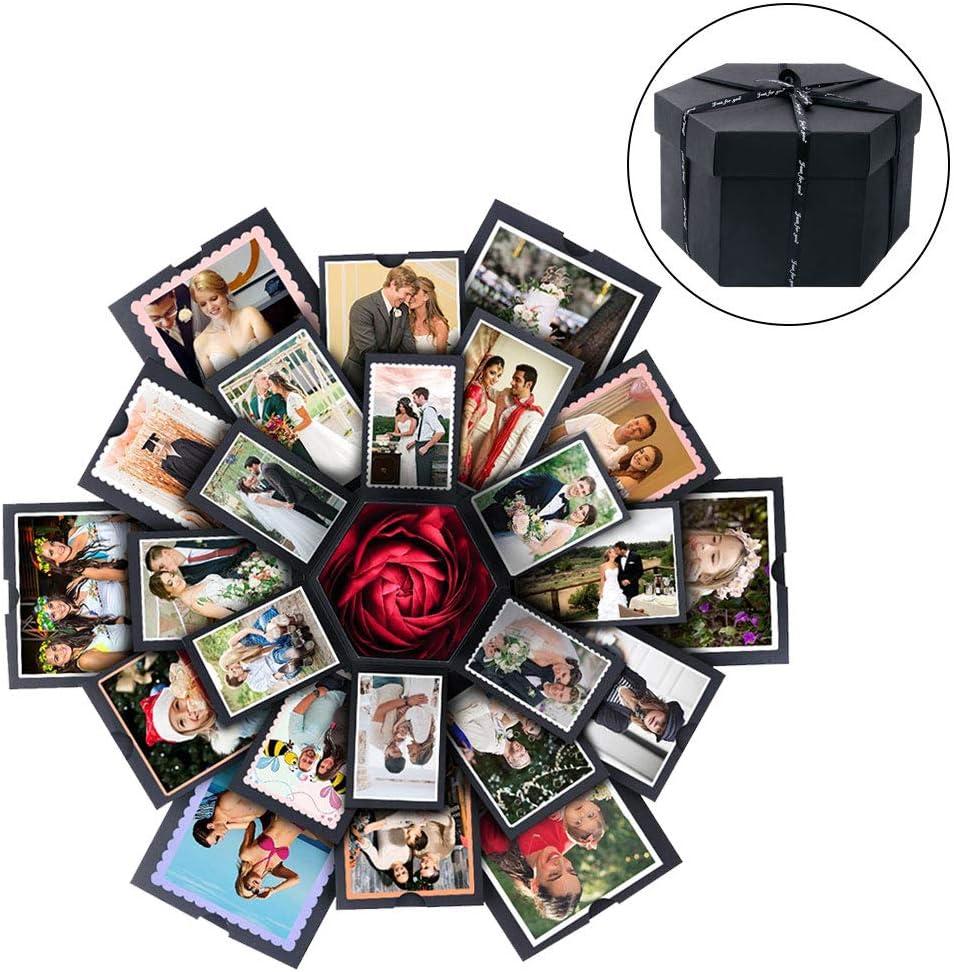 Hexagonal Box /& DIY kit Explosion Gift Box DIY Photo Album Scrapbook for Birthday Anniversary Wedding Proposal,Hexagon Black