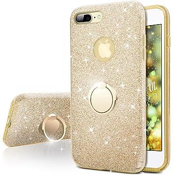 216ab7a011d Miss Arts Funda iPhone 7 Plus,Carcasa Brillante Brillo, Cubierta Exterior de  TPU + armazón Interior de PC para Apple iPhone 7 Plus -Oro: Amazon.es: ...