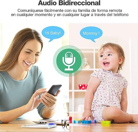 IMI Nuevo IMI C/ámara de Vigilancia WiFi 1080P C/ámara IP Inal/ámbrica Audio Bidireccional Visi/ón Nocturna Detecci/ón de Movimiento Mascota//Beb/é Monitor para iOS//Android