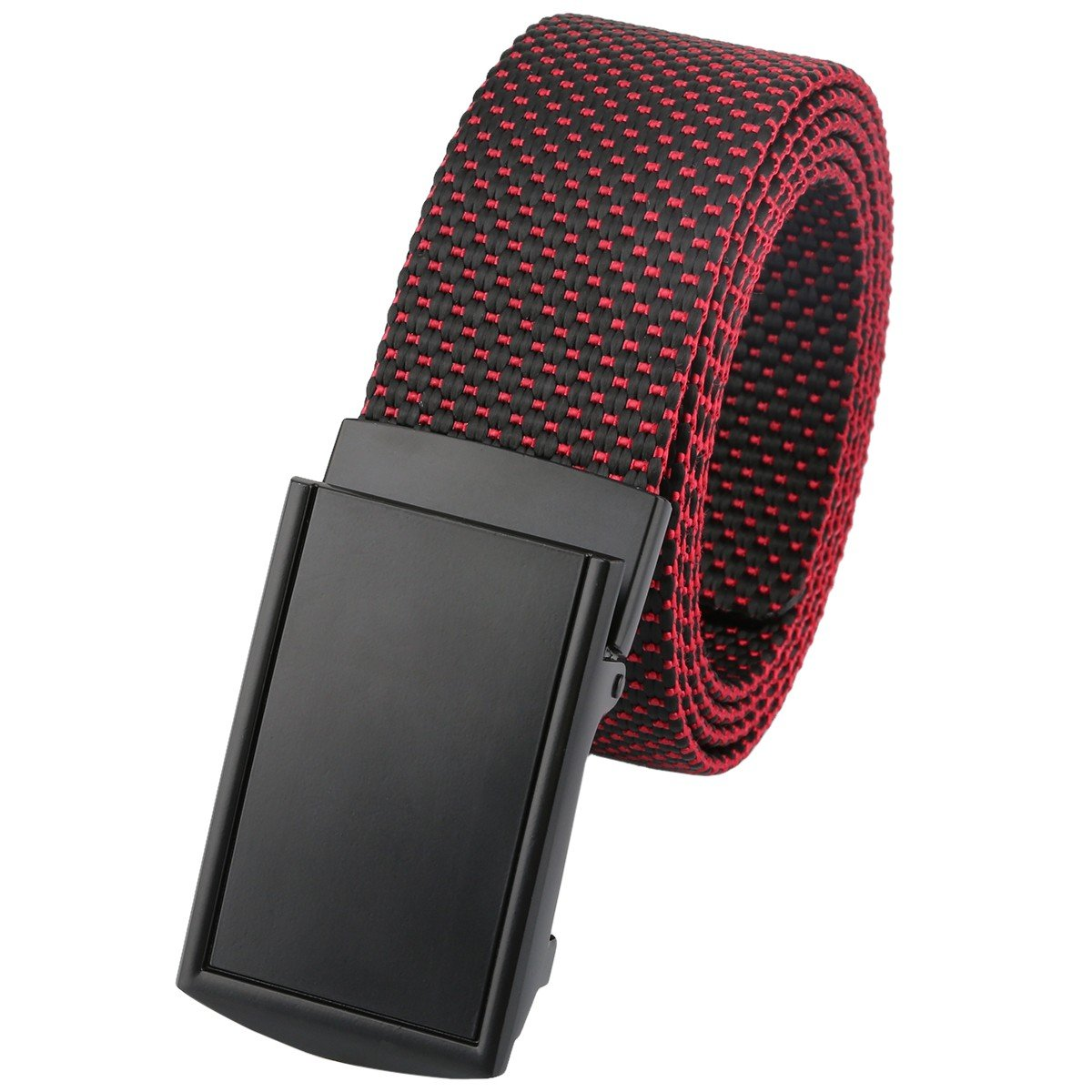 moonsix Nylon Web Belts for Men,Solid Color Casual Military Style Belt,Black & Red