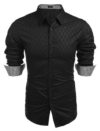 9524e0c1425f COOFANDY Men's Business Dress Shirt Long Sleeve Casual Slim Fit Button Down  Shirt, Black,