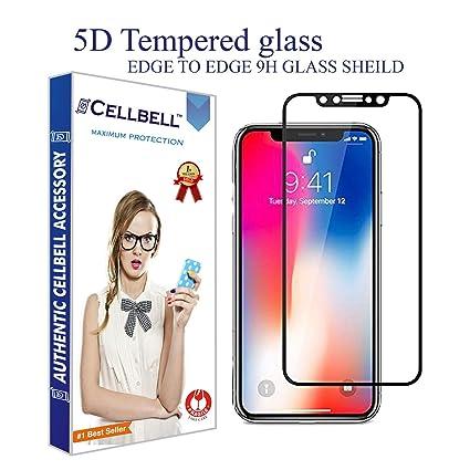 cellbella apple iphone x 5d black fullbody premium quality tempered glass