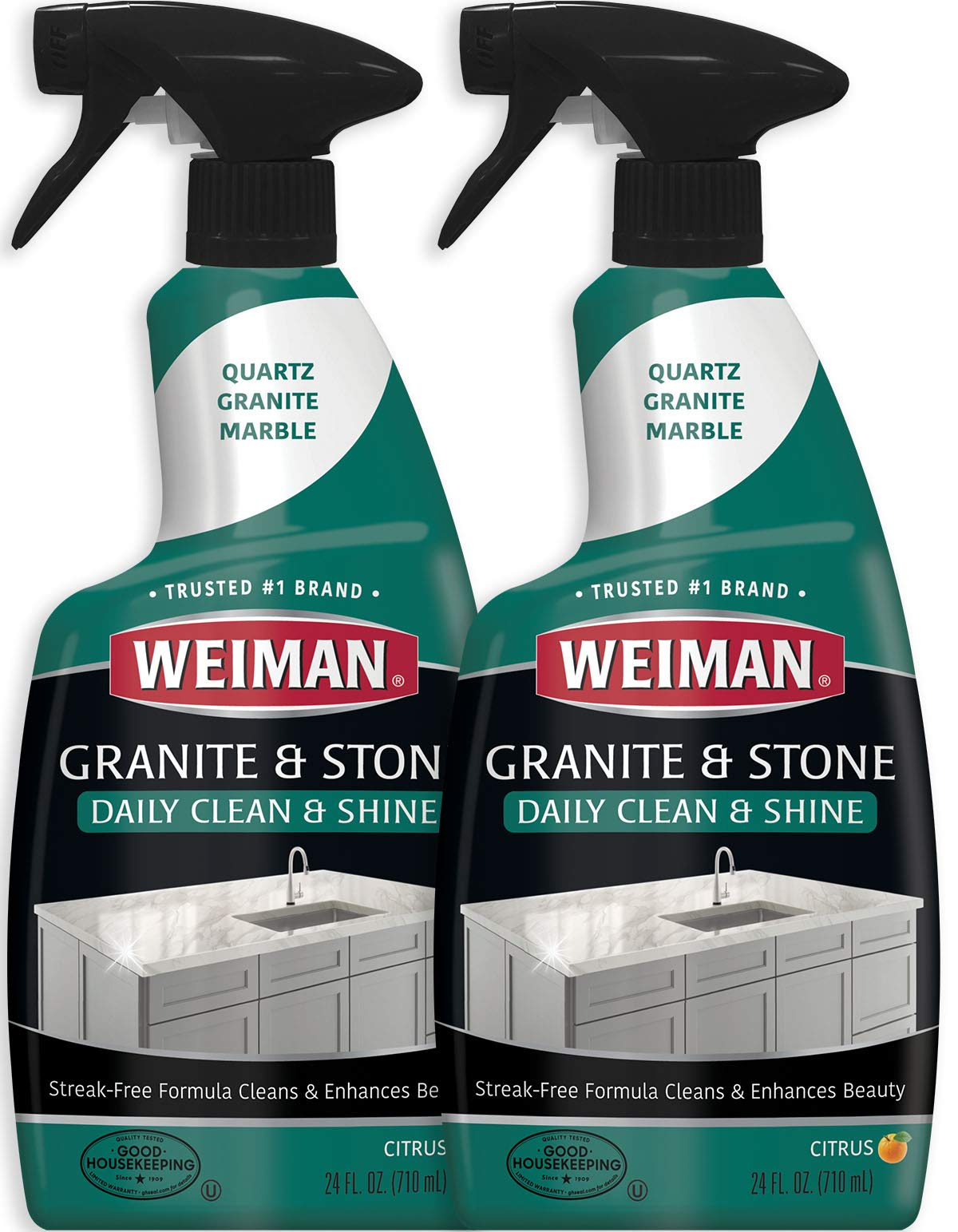 Weiman Granite Cleaner and Polish - 24 Ounce (2 Pack) Safely Cleans and Shines Granite Marble Soapstone Quartz Quartzite Slate Limestone Corian Laminate Tile Countertop by Weiman