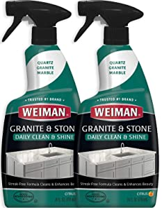 Weiman Granite Cleaner and Polish - 24 Ounce (2 Pack) Safely Cleans and Shines Granite Marble Soapstone Quartz Quartzite Slate Limestone Corian Laminate Tile Countertop