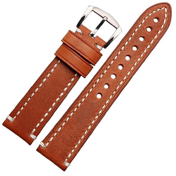 Marrón Genuine piel italiana correa de reloj 20 mm watch Banda Correa: Amazon.es: Relojes