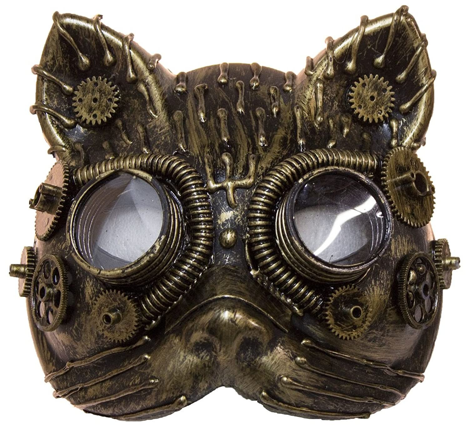 Steampunk Costume Essentials for Women Costume Accessory - Antiqued Plastic Steampunk Cat Mask w/ Built in Goggles $13.95 AT vintagedancer.com