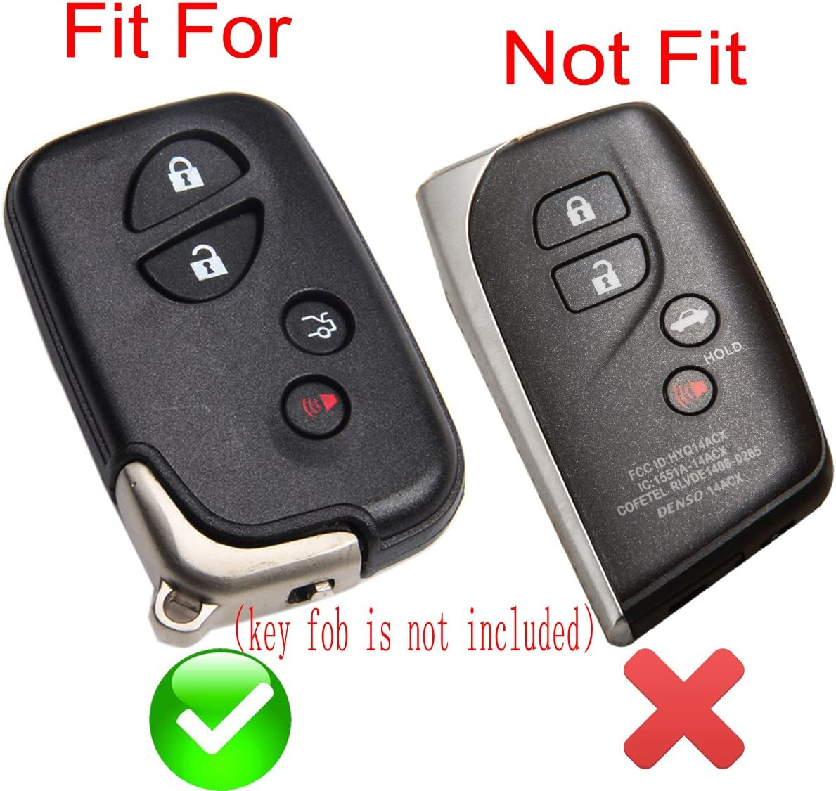 Coolbestda 2X Rubber Smart 4Buttons Key fob Protector Cover Case for Lexus RX350 IS250 GS300 GX460 GS460 IS350 is-C is-F LS600h ES350 GS300