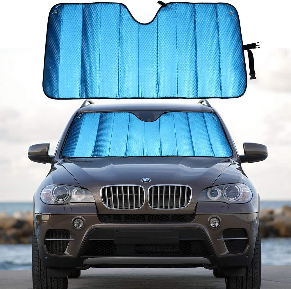 "MCBUTY Windshield Sun Shade for Car Blue Thicken 5-Layer UV Reflector Auto Front Window Sunshade Visor Shield Cover and Keep Your Vehicle Cool(55"" × 27.5"")"