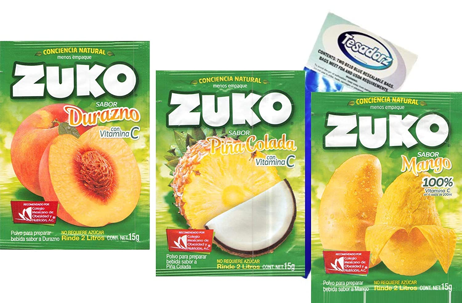 Amazon.com : Zuko Powdered Drink Mix (Pack of 12) and Tesadorz Resealable Bags (Variety #2) : Grocery & Gourmet Food