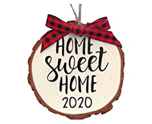 Home Sweet Home 2020 Wood Slice Christmas Ornament (Gift Box Included) White w/Red Bow