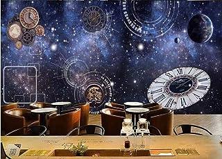 Carta Da Parati Blu Cielo Cosmico Orologio Da Bar Caffetteria Parete Del Negozio Murale Carta Da Parati Casa Personalizzata