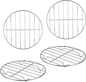 Supkiir 4 Pack Round Cooking Cooling Racks, 304 Stainless Steel Round Rack for Steaming Baking and Air Fryer Pressure Cooker, Oven & Dishwasher Safe7.9