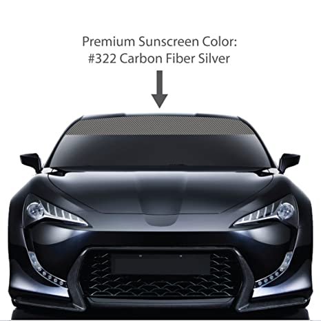4 x 60 carbon fiber windshield visor sun screens silver vinyl