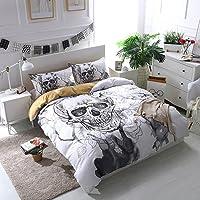 koongso 3d impresión digital de cama de impresión, y Calavera de flores juego de funda de edredón de microfibra