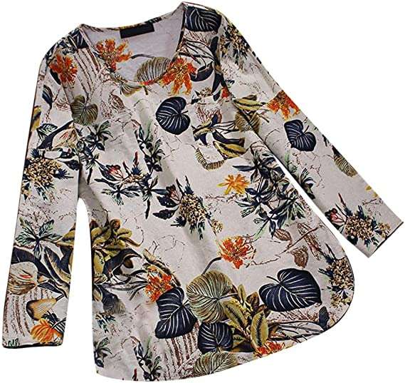 iPOGP Womens Plus Size Blouse Vintage Floral Print 3//4 Sleeve Top Pullover Top Pullover O-Neck Pleated Loose Shirts