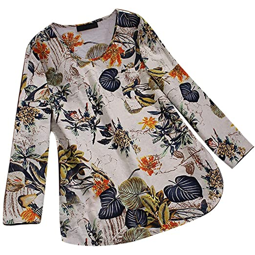 61ae70abc3b Funic Plus Size Women Fashion Vintage Floral Print Long Sleeves Blouse  V-Neck Bodice Shirt