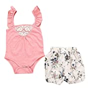 Mini honey Toddler Baby Girls Sleeveless Lace Romper Outfit Clothes Jumpsuit+ Floral Short Pants (6-12 Months, Pink)