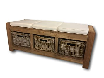 Admirable Rustic Hallway Storage Bench With 3 Wicker Drawers 3 Andrewgaddart Wooden Chair Designs For Living Room Andrewgaddartcom
