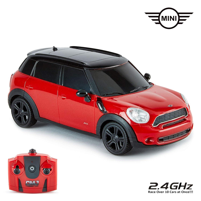 CMJ RC Cars 1:24 Escala Mini Countryman Cooper S All4 en Rojo y Color Negro con LED Luces y 2,4ghz Tecnología