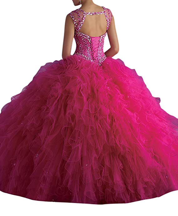 Dearta Women\'s Ball Gown V-Neck Floor-Length Tulle Crystals ...