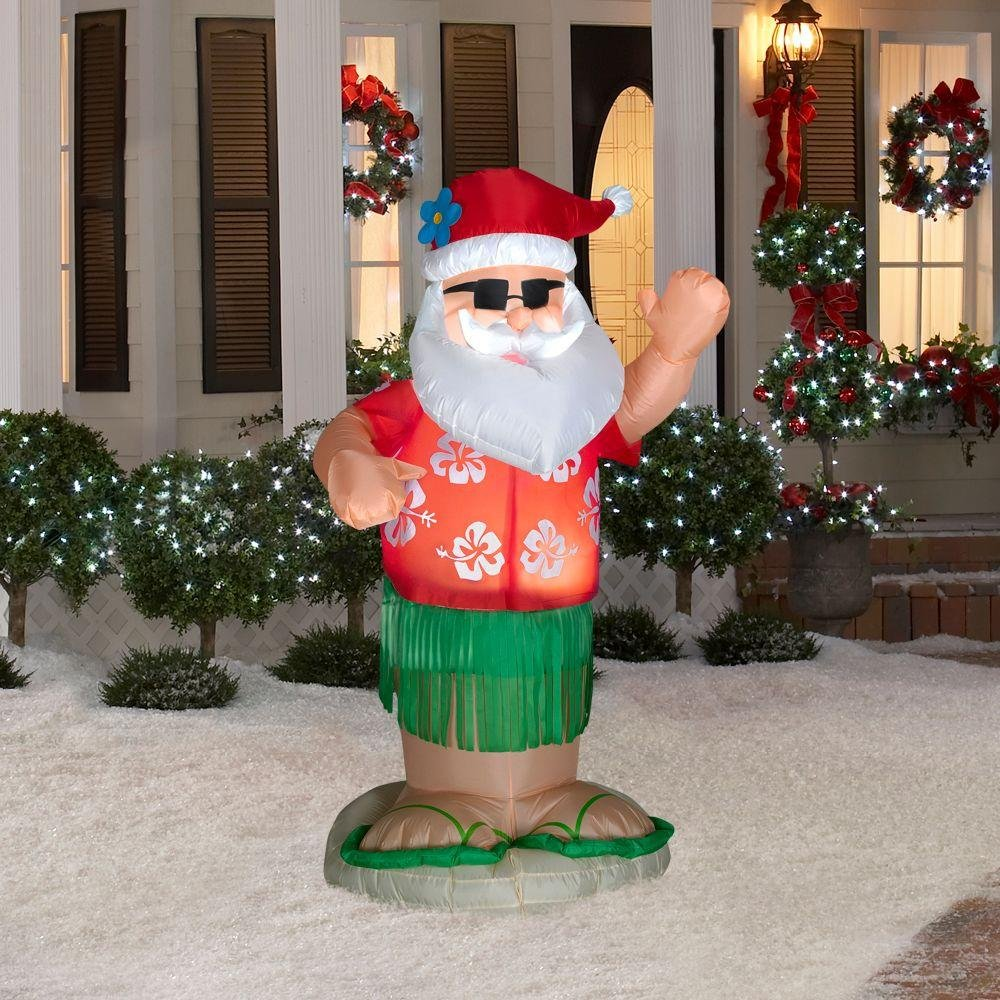 Airblown Animated  Santa Dancing Hula Christmas Yard Inflatable Garden Decoration, 6-Ft
