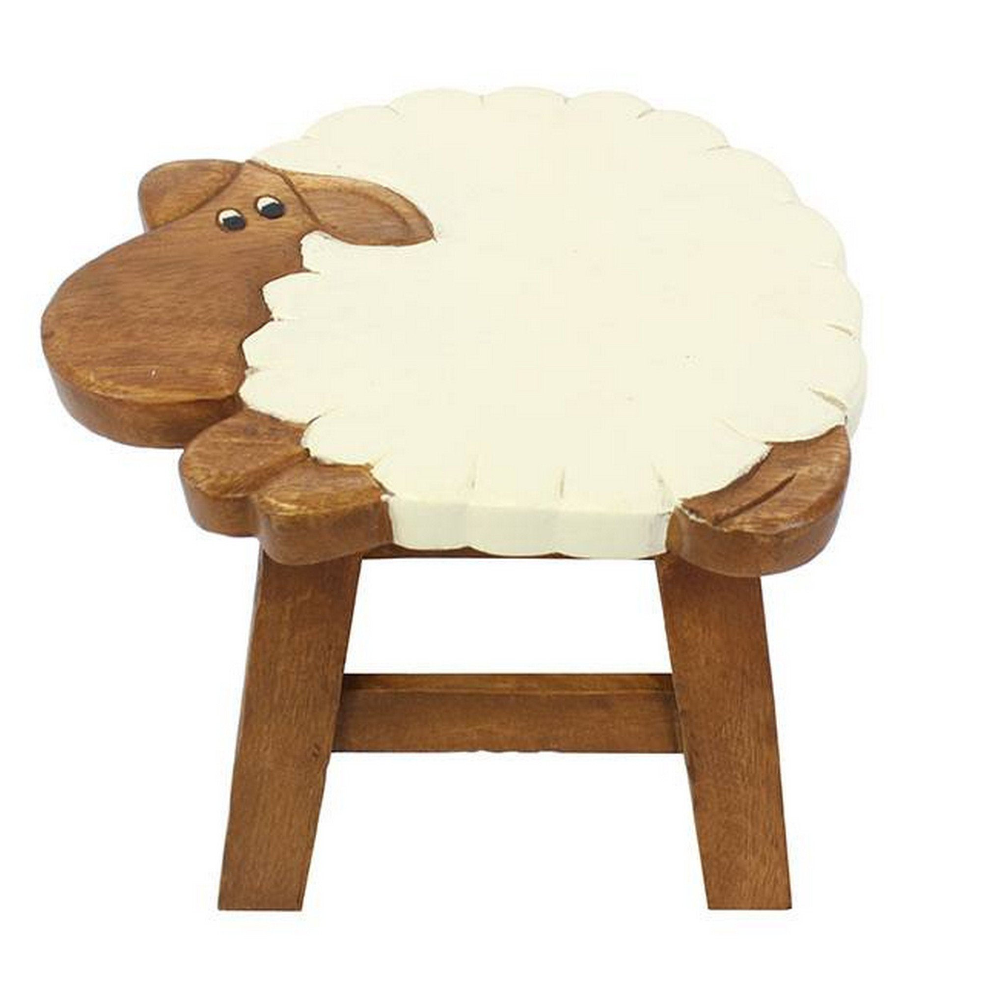 Ethically Sourced Children's Wooden Stool Sheep Design by Jones Home and Gift