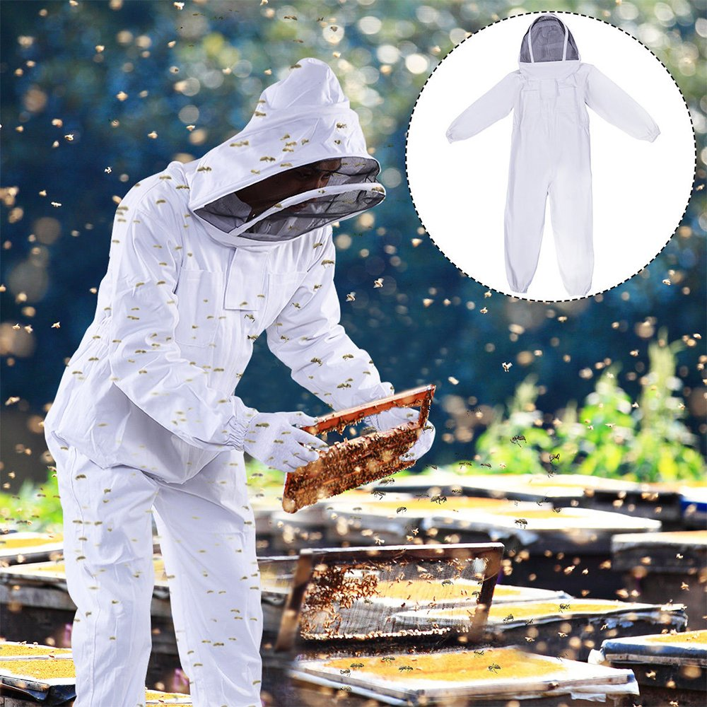 DGCUS Professional Cotton Full Body Beekeeping Suit with Self Supporting Veil Hood(For Person No Taller than 5' 9'')