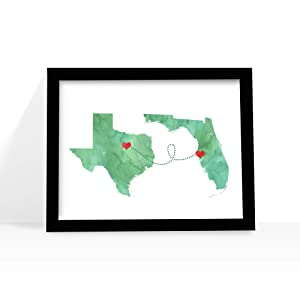 Any Two States Map Art Print Wall Decor - WATERCOLOR series - Love Wedding Gift Personalized State