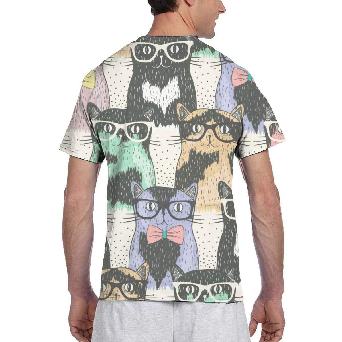 Nerdy Cats Mens Short Sleeve T-Shirt Print Tees Tops
