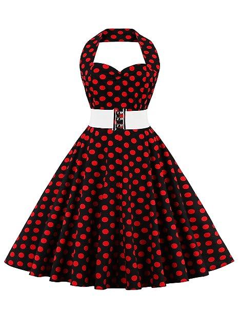 vkstar® Niños vestido años 50 Vintage estilo halter sin mango 1950s Audrey Hepburn vestido niña