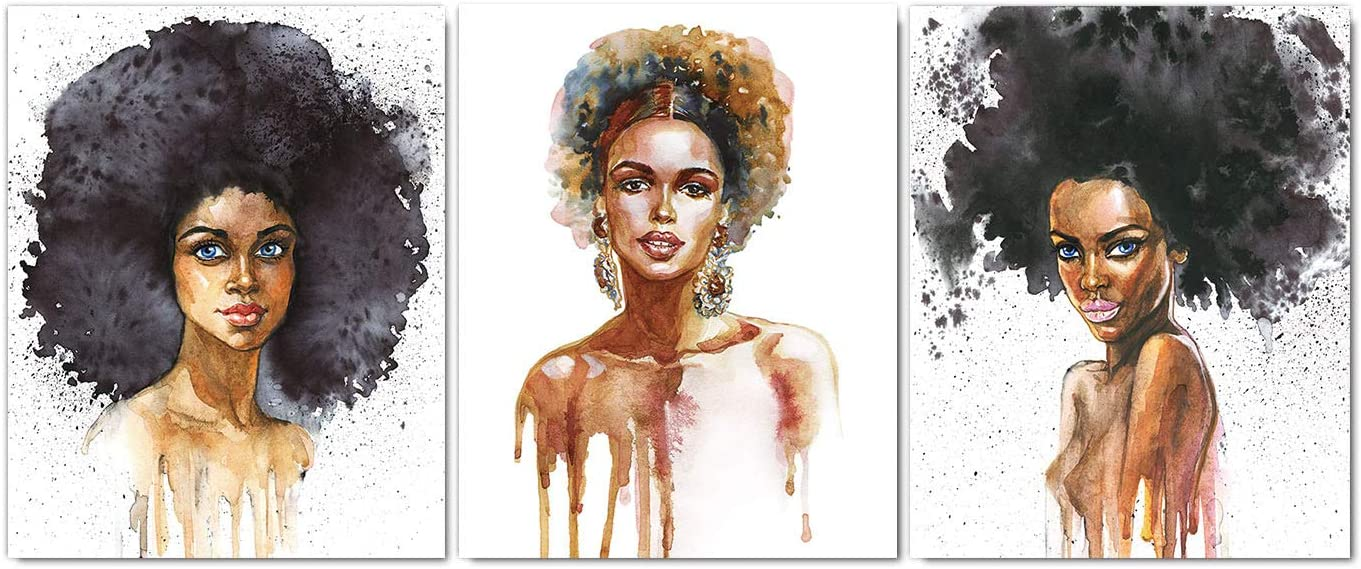 African American Women Wall Art Paintings Watercolor Fashion Pop Girls Wall Art Prints for Girls Dressing Room Bedroom Home Decor Canvas Poster Set of 3 (8