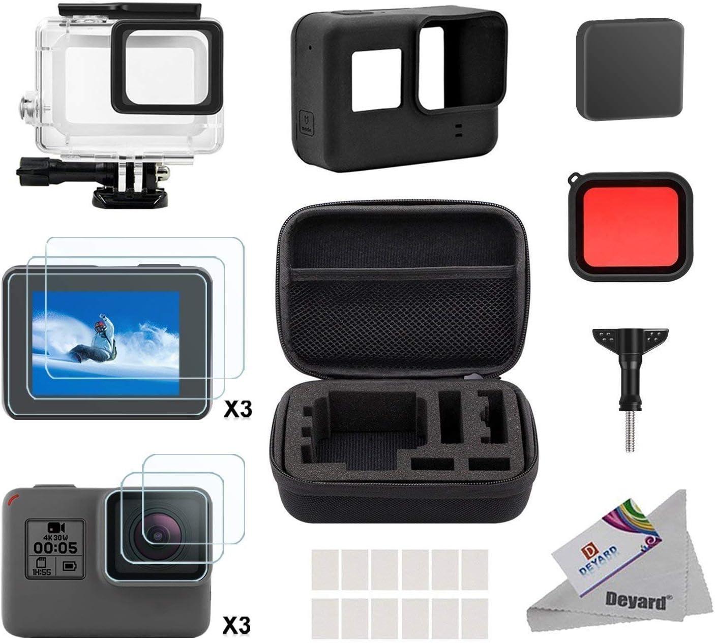 Deyard Kit de Accesorios para GoPro Hero 7(Sólo negro) Hero (2018), GoPro Hero 6 y Hero 5 Action Camera, 25 artículos en 1, con Carcasa pequeña a Prueba de Golpes