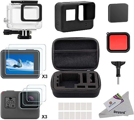 Deyard Kit de Accesorios para GoPro Hero 7(Sólo negro) Hero (2018), GoPro Hero 6 y Hero 5 Action Camera, 25 artículos en 1, con Carcasa pequeña a Prueba de Golpes: Amazon.es: Electrónica
