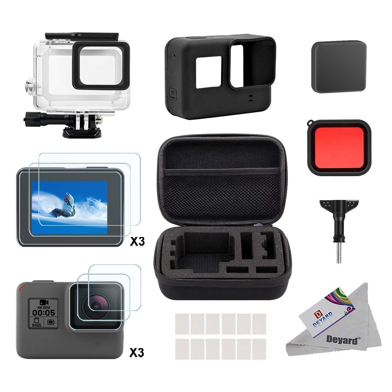 Deyard Kit de Accesorios para GoPro Hero 7(Sólo negro) Hero (2018), GoPro Hero 6 y Hero 5 Action Camera, 25 artículos en 1, con Carcasa pequeña a ...