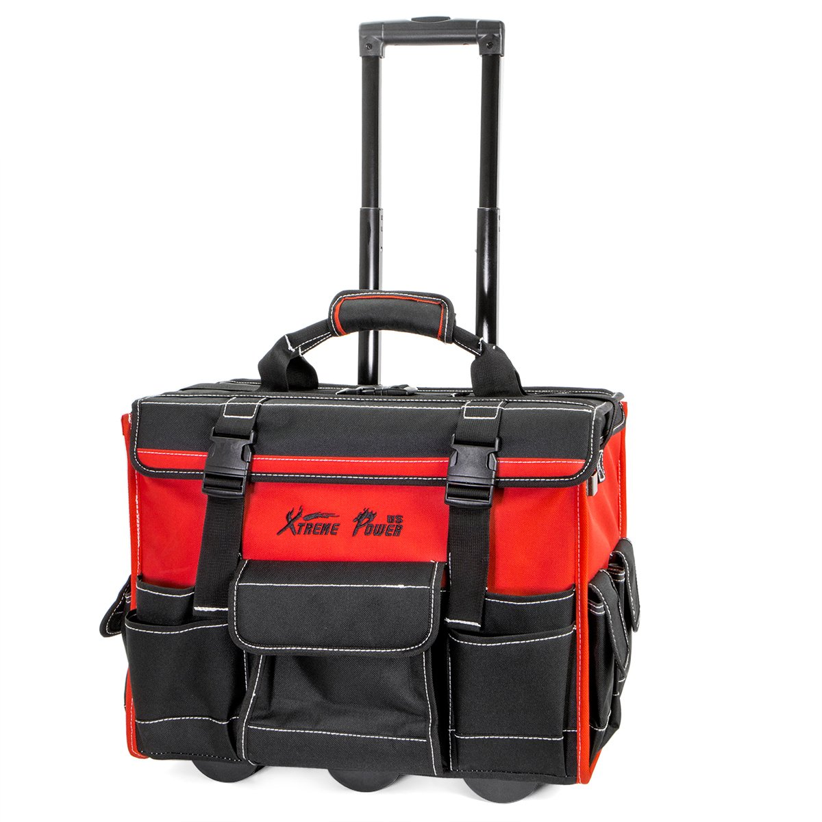 XtremepowerUS Tool Bag Organizer, Black and Red (18'' Wide Mouth Rolling Tool Bag)