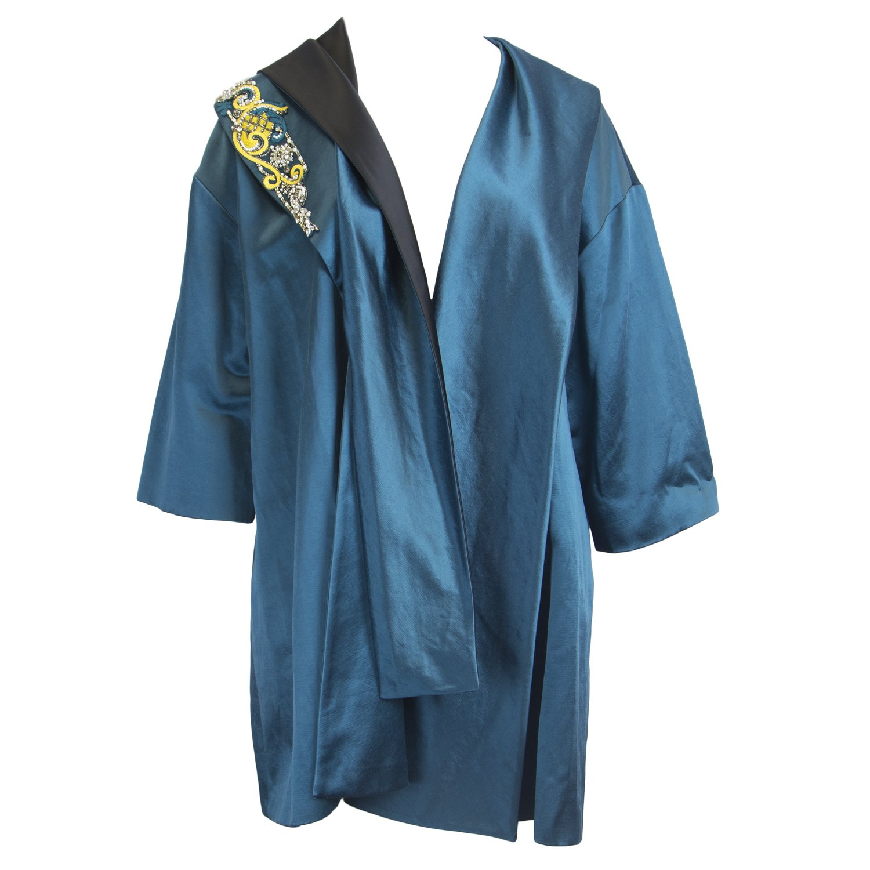 Marina Rinaldi Women's Newyork Beaded Accent Coat, Teal, 24W / 33