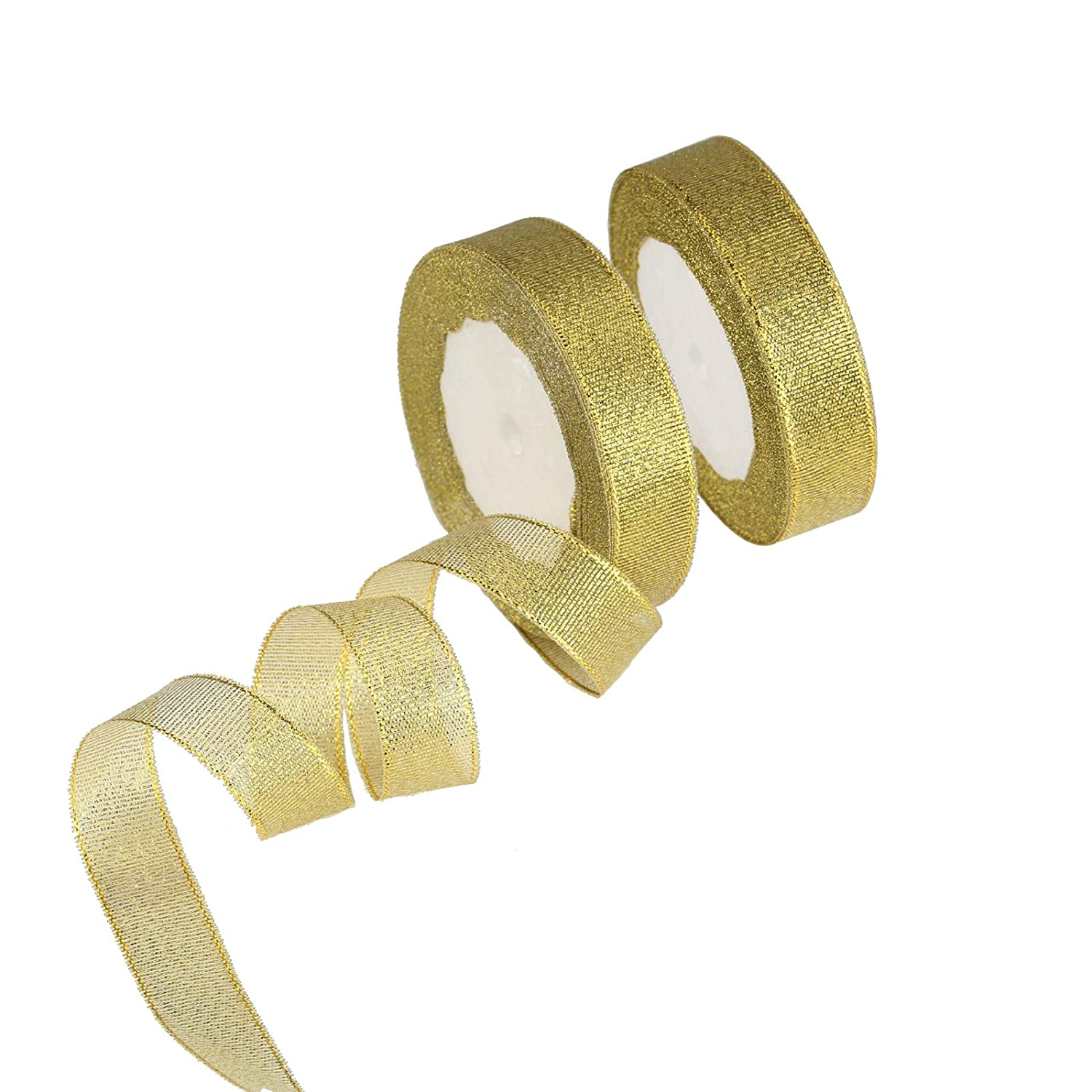Organza Ribbon, KAKOO 2 Pack 25 Yard 20mm Wide Glitter Trimmings Decorative Ribbons for Gift Wrapping (Gold)