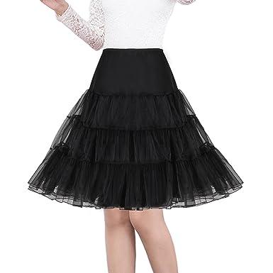 """74acaa2097 Shimaly Women's 50s Vintage Rockabilly Petticoat 26"""" Length Net  Underskirt ..."""