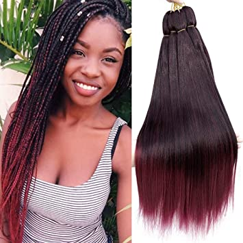 Befunny 8Pieces Lot 24Inch Pre Stretched Braiding Hair Long Ombre Crochet  Human Hair For Braids d2590debf9e5