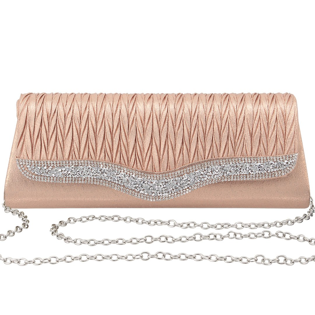 Gabrine Womens Evening Envelop Shoulder Bag Handbag Clutch Purse Pleated Rhinestone-Studded Satin for Wedding Party Prom(Champagne)