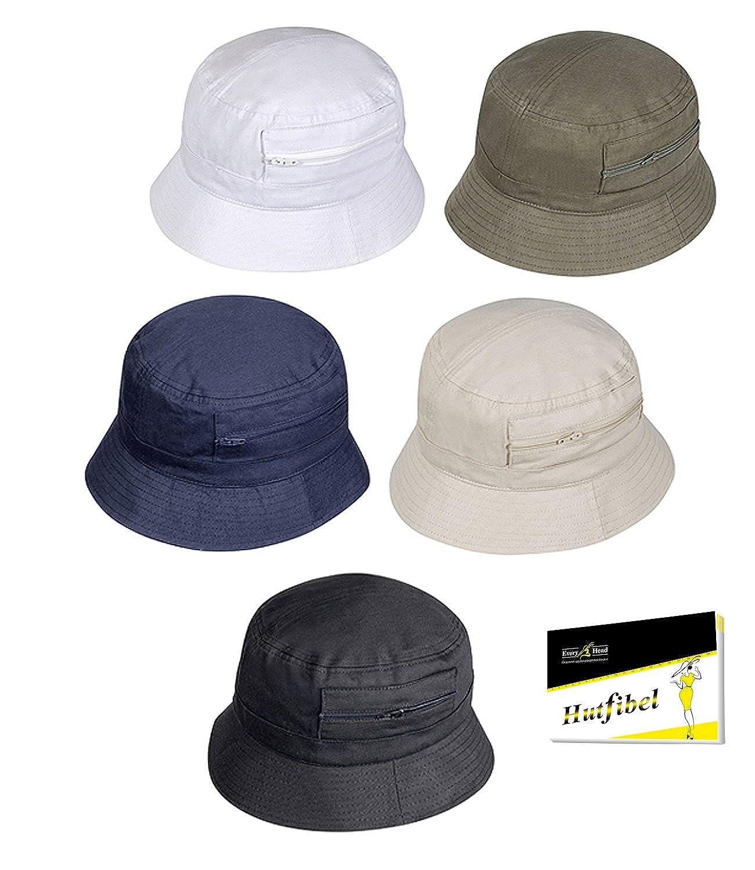 FI-47031-S16-HE2 incl Hutfibel EveryHead Fiebig Cappello da Pescatore Protezione di Svago Berretto Estate Floscio Uomo