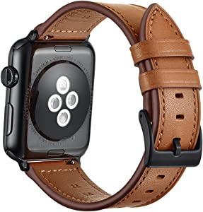 Compatible with Apple Watch (Including series4) 42mm 44mm, Unique Vintage Brown Genuine Leather Replacement Watch Strap for iWatch Series 4, 3, 2, 1, Nike+ Edition iWatch Loop