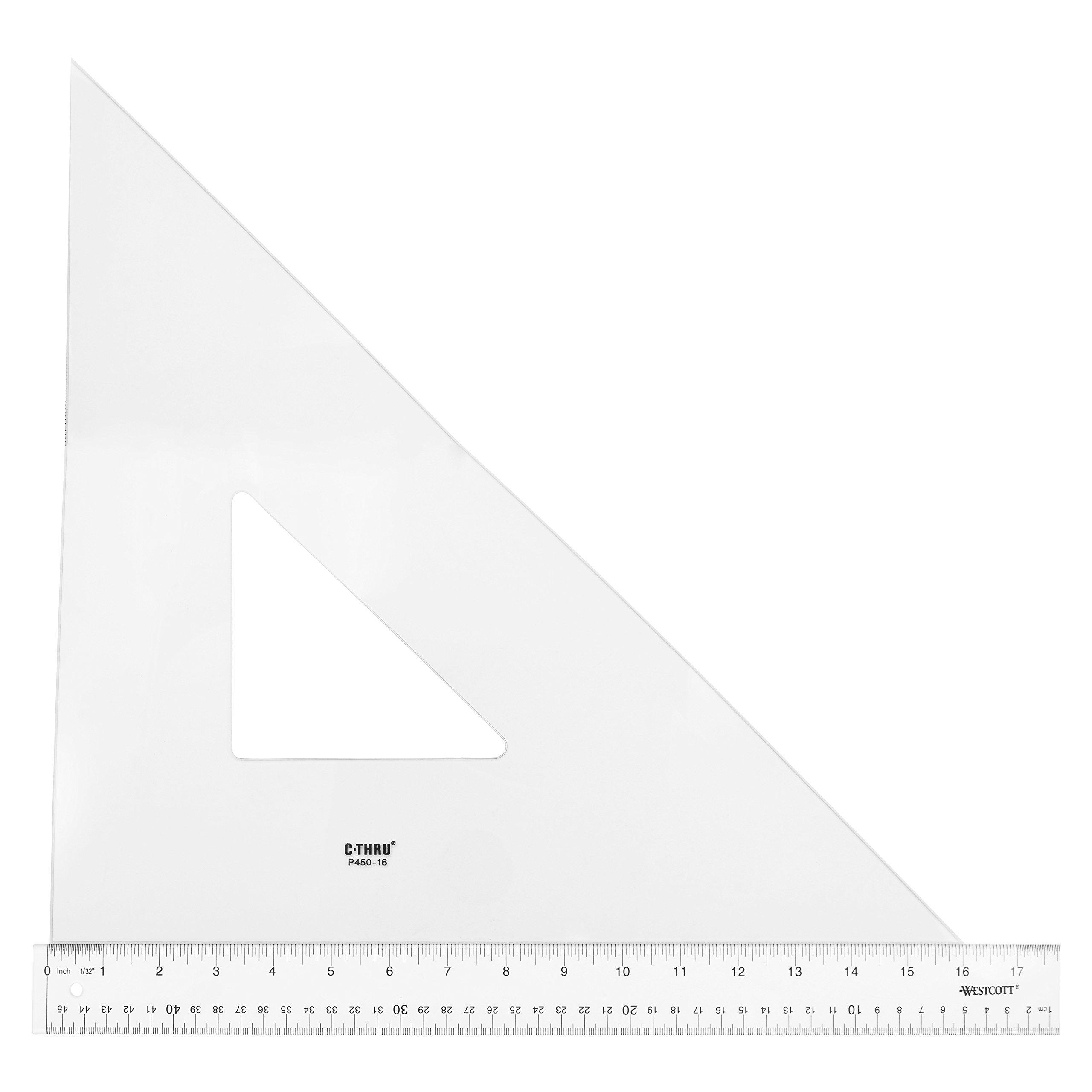 Westcott Professional Triangle, 16'', 45/90 Degree, Transparent (P450-16)
