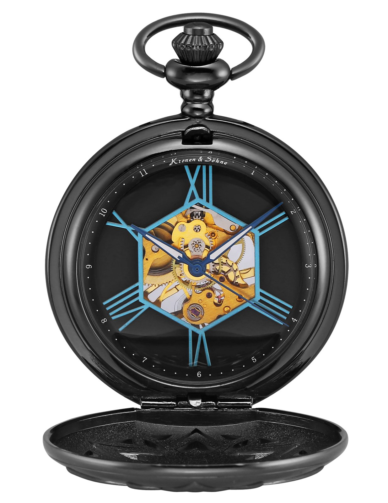 KS Half Hunter Maple Leaf Skeleton Mechanical Pocket Watch KSP105