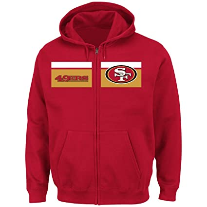 "66f81ee5 San Francisco 49ers Majestic NFL ""Touchback"" Men's Full Zip  Hooded Sweatshirt"