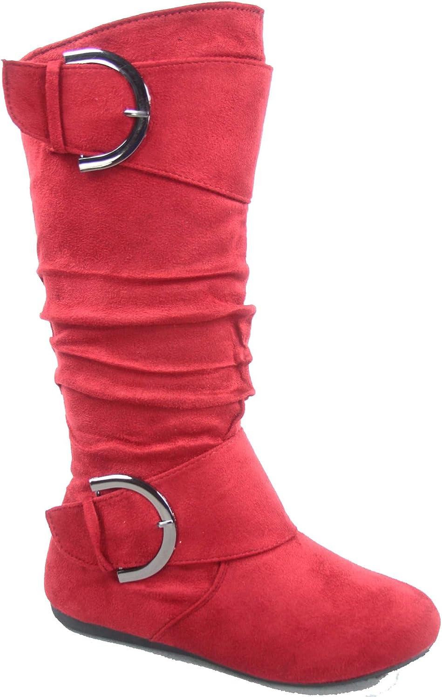 Top Moda Bank-81 Womens Fashion Round Toe Flat Heel Zipper Buckle Slouchy Mid-Calf Boot Shoes