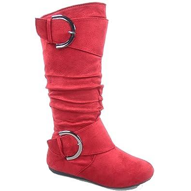 Bank-81 Women's Fashion Round Toe Flat Heel Zipper Buckle Slouchy Mid-Calf Boot Shoes