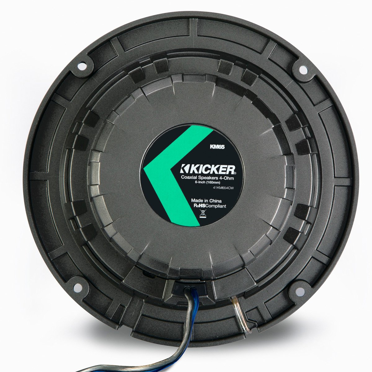 Pair of Kicker 41KM654CW 6.5'' 2-Way Coaxial 4-Ohm Marine/Boat Speakers with 3/4 Inch Titanium Waterproof Tweeters - 95 Watts Peak/65 Watts RMS Each Speaker / 390 Watts Peak/130 Watts RMS Per Pair by Kicker
