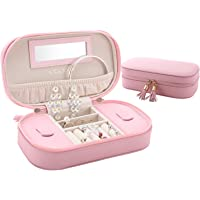 LELADY Jewellery Box Organiser Small Travel Jewellery Case Portable Faux Leather Jewellery Organiser Box Storage Holder with Mirror for Women Girls